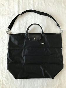 Longchamp Le Pliage Club XXL Expandable Travel Bag with Shoulder Strap - BLACK