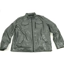 Sonoma Motorcycle Jacket Size XL Sherpa Lined Gray Bomber Racer PVC Faux Leather