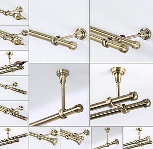 Gardinenstange 19mm 1-läufig/2-läufig Wand/Decke Antik-Gold 120-600 cm_A38