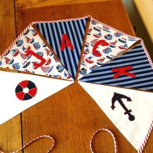 £2.30 a Flag Personalised  Baby Boy Name Fabric Bunting,Nautical Birthday Banner