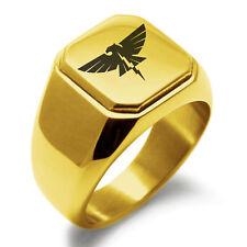 Symbol Mens Square Biker Style Signet Ring Stainless Steel Zeus Greek God of Sky