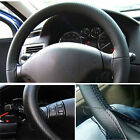 Car Truck Leather Steering Wheel Cover With Needles and Thread Black DIY
