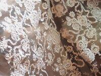 0.5 lfm Kordelspitze Tüllspitze Hochzeitskleider Stoff  Stickerei weiß 130cm