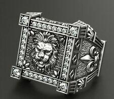Biker's Mens Ring with Lion and Heraldic lilies Veni Vidi Vici in 925 Silver