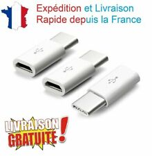 Lot 3 Adaptateur USB 3.1 Type C Male vers Prise Femelle Micro USB Blanc