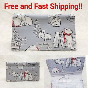Vera Bradley Beary Merry Iconic Checkbook Cover Limited Edition Gray NWT New