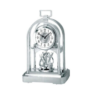 Chrome Rhythm Clocks - Silver Coloured, Pendulum Style Rotating Mantel Clocks