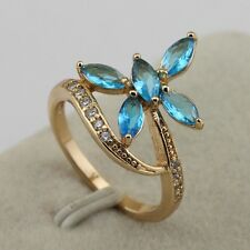 Size 5.5~8.5 Fashion Jewelry Sky Blue Sapphire Gold Filled Butterfly Ring rj1581