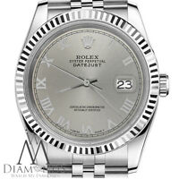 Men's Rolex 36mm Stainless Steel Datejust Slate Grey Roman Numeral Dial Watch