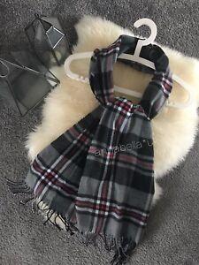 Tartan Check Scarf Shawl Wrap Unisex Grey Black Soft Warm Plaid Scarves Gift New