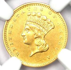 """1857-S Indian Gold Dollar (G$1 Coin) - Certified NGC AU Detail - Rare """"S"""" Mint!"""