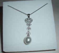 Collana donna cuore,perla,argento 925 idea regalo San Valentino NECKLACE Pearl