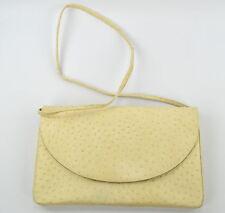 Vintage Cream Leather Ostrich Purse Clutch Handbag with Shoulder Strap