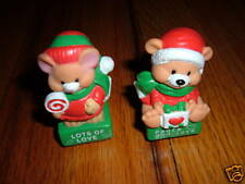 Vintage CHRISTMAS STAMPER lot TEDDY BEAR/MOUSE STAMP Holiday X-Mas MICE Rare old