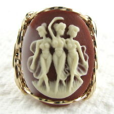 Three Graces Muses Cameo Ring 14K Rolled Gold Jewelry Brown Resin Any Size