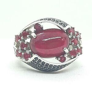 9.75ctw Mozambique Ruby & Spinel 925 Sterling Silver Ring Size 6.25 10.7g