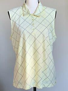 EP Pro Tour Tech Polo Women's Golf Top Lemon Gray Sleeveless 1/3Button Collar XL