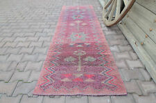2.8x8.8, GEOMETRIC RUNNER, TURKISH Runner, Vintage Runner, Pink Purple Pastel