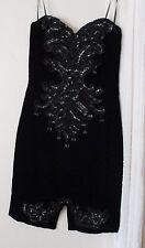 S Vintage CDC Dress beaded strapless velvet sequin USA vintage prom fringe