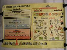 Schulwandkarte Wandkarte Länder der Bundesrepublik Plakat BRD Verwaltung 119x85c