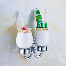 Chrome Wall Mounted Bathroom Stand Ceramic Double Cups Toothbrush Holder Set