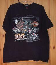 Hanes Harley-Davidson Black T-shirt 105th Anniversary, Oconowoc WI, XL