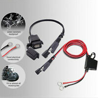 2.1A Motorcycle Waterproof SAE USB Charger Adaptor w/Harness Kit Fuse Universal