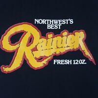 Vtg 80s Rainier Beer T-Shirt S Black Deadstock Single Stitch Northwest Best USA