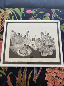 """Vintage Signed Minimalist Gallery Wall Framed """"African Ballet"""" Painting 30x24"""