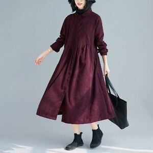 Women Corduroy Long Shirt Dress Outwear Coat Doll Collar Button Loose Casual