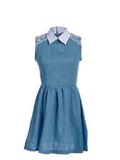Sexy Women Sleeveless Blue Denim Floral Shoulder Appliques Contrast Collar Dress