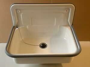 Ausgussbecken Stahl emailliert weiß Waschtrog für Keller Garten Waschküche Garag