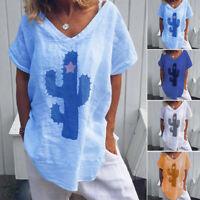 Damen Loose Tunika Oberteil Bluse Kaktus Muster Kurzarmshirt Casual Top T-shirt