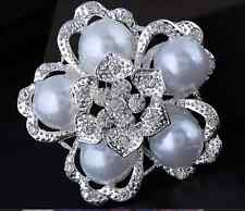 "2.5""  SILVER TONE WHITE FAUX PEARL  DIAMANTE CRYSTAL WEDDING/PARTY BROOCH  PIN"