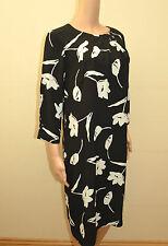 New M&S Classic Black & Ivory Floral Shift Dress Sz UK 12