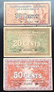 LOT 3 PCS FRENCH INDOCHINA 10, 20, 50 CENTS 1939