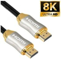 8K HDMI 2.1 Ultra High Speed Cable 48Gbps 4K@120 UHD 1M 2M Gold PS5 XBOX Sky