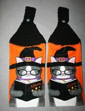 2 Crocheted Kitchen Towels - Halloween Cat w/ Witch Hat, Glasses and Spell Book