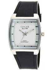 Omax Mens Black Silicone Strap with White Face Wrist Watch Analog Quartz