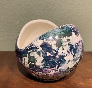 Vintage 1960s MCM McCoy Pottery Blue w/ Green Luster Cascade Line Flower Bowl