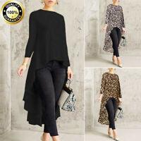 UK Fashion Womens Long Sleeve Asymmetrical Blouse Top High Low T Shirt Plus Size