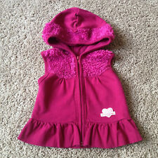 Toddler Girl's 4 Years S Naartjie Fuzzy Furry Hooded Zip Up Vest EUC