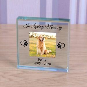 In Loving Memory - Personalised Pet Dog Cat Photo Glass Block Ornament Gift 8cm
