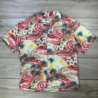 KY's Hawaiian Aloha Shirt Beach Floral Vacation Graphic Button Front Shirt L