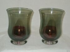 Crate & Barrel Abbey Green Hurricane Candleholders & Mitzi Red Votives-Used