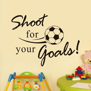 Shoot For Your Goals Soccer Wall Decals Color Black Vinyl Adhesive Removable