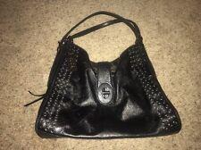 COACH 32401 Madison Grommet Carlyle Shoulder Bag - Black/Gunmetal Silver Leather
