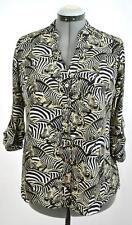 New ALFANI Women Black White Zebra 3/4 Sleeve Button Down Chifon  Blouse Sz 8