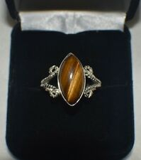 "4.50 ct. NATURAL GENUINE PIETERSITE ""TIGER EYE"" STERLING SILVER STATEMENT RING"