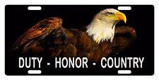 VETERAN DUTY HONOR COUNTRY Custom License Plate Military Emblem Eagle Version